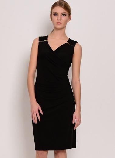 House Of Camellia V Yaka Kolsuz Kısa Elbise Siyah